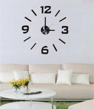 Černé nalepovací nástěnné hodiny Stardeco s velkými číslicemi