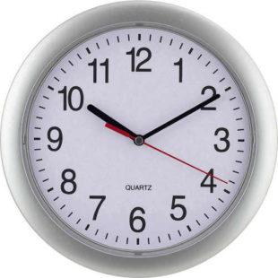 Levné stříbrné nástěnné hodiny Quartz EUROTIME Ø 25 cm