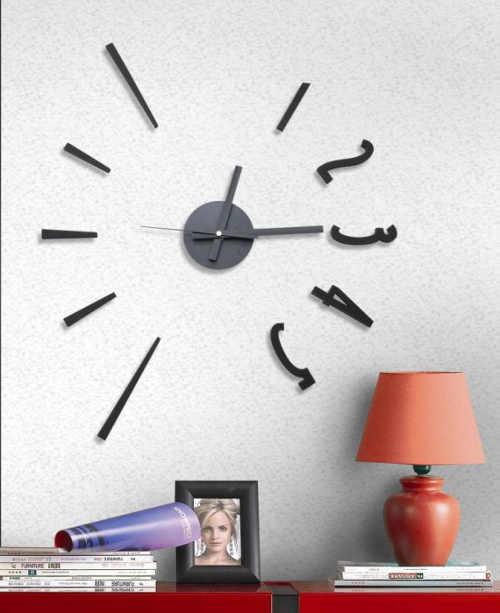 Levné moderní samolepící hodiny do obývacího pokoje