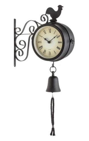 Zahradní hodiny s teploměrem a zvonem