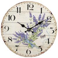 Dřevěné nástěnné hodiny Levandule