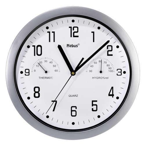 Levné nástěnné analogové hodiny s teploměrem a vlhkoměrem