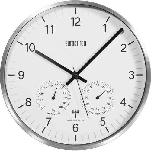 Rádiem řízené analogové nástěnné hodiny s ukazateli teploty a vlhkosti
