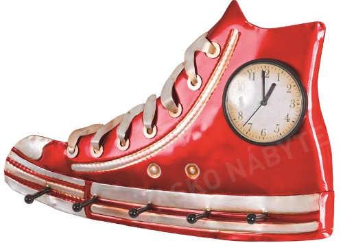 Věšák červená teniska s hodinami