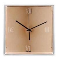 Zlaté čtvercové nástěnné hodiny Tic&Tac Metal
