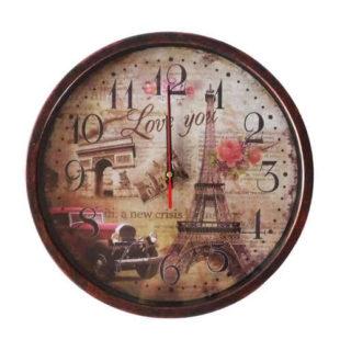 Kulaté hodiny na zeď s nápisem