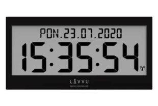 Černé digitální hodiny řízené rádiovým signálem
