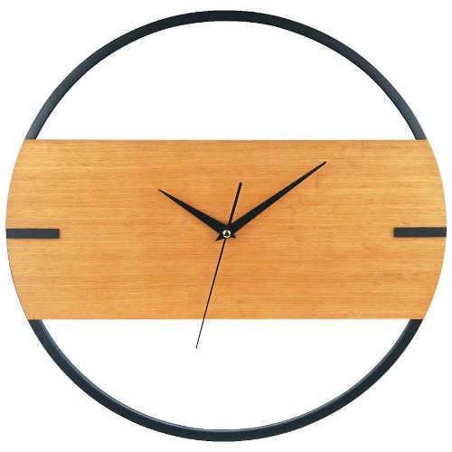 Designové nástěnné hodiny kombinace kov a dřevo