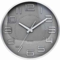 Levné kulaté šedé nástěnné hodiny Quartz