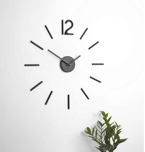 moderní hodiny nalepovací černé