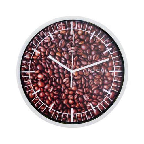 nástěnné hodiny s obrázkem kávy či lentilek