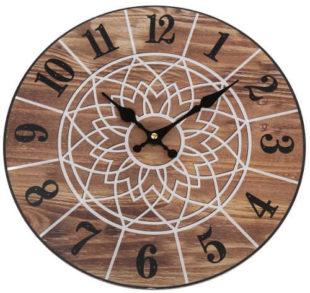 Dřevěné nástěnné hodiny s motivem mandaly