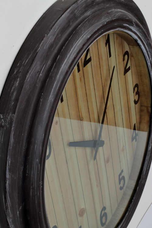 Kulaté nástěnné hodiny starožitný patinovaný vzhled