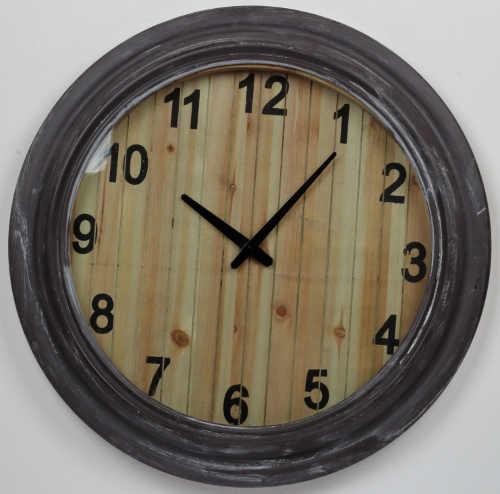 Nástěnné hodiny s patinou a dřevěným ciferníkem