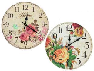 Nástěnné kuchyňské hodiny s květy 34cm