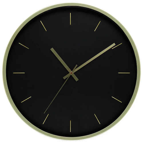 Velké kulaté černo-zlaté nástěnné hodiny
