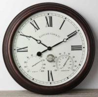 Venkovní nástěnné hodiny s analogovým hydrometrem a teploměrem