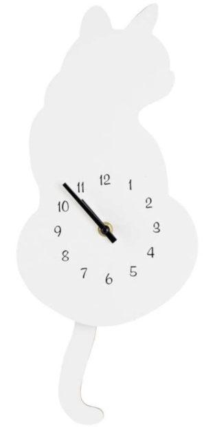 Bílé nástěnné hodiny ve tvaru kočičky