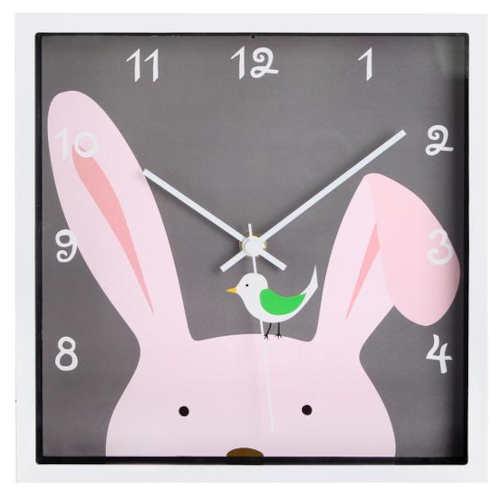 Čtvercové dětské veselé nástěnné hodiny s králíčkem