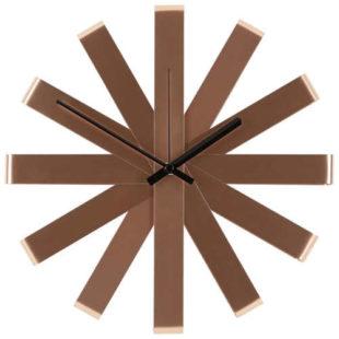 Kovové hodiny na stěnu měděné barvy