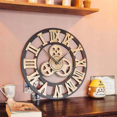 moderní 3D dřevěné velké hodiny