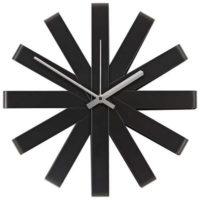 Moderní černé kovové nástěnné hodiny Moebelix Anna