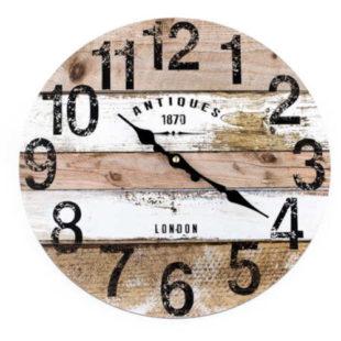 Pruhované hnědobílé nástěnné hodiny Antiques 34 cm