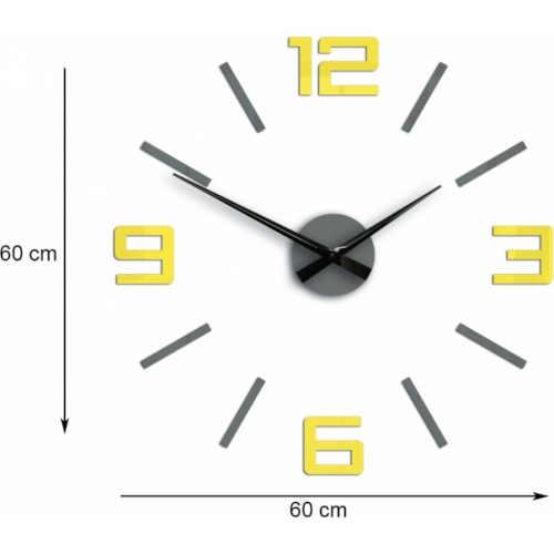 šedo-žluté nalepovací velké hodiny