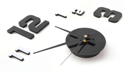 samolepící hodiny metalické provedení